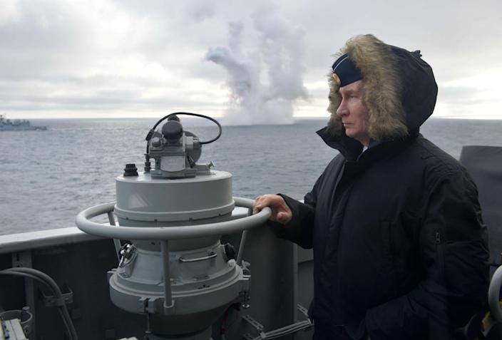 Russian President Vladimir Putin onboard the Russian guided missile cruiser Marshal Ustinov in the Black Sea, Jan. 9, 2020. (Photo: Alexei Druzhinin/Sputnik/Kremlin via Reuters)