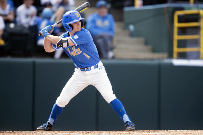 FILE - UCLA's Matt McLain bats against Sacramento State during an NCAA college baseball game in Los Angeles, in this Sunday, March 3, 2019, file photo. (AP Photo/Kyusung Gong, File)