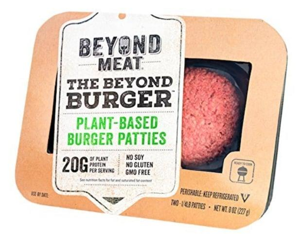 "<p>This <a rel=""nofollow"" href=""https://www.popsugar.com/buy/%20Beyond%20Meat%20The%20Beyond%20Burger-113189?p_name=%20Beyond%20Meat%20The%20Beyond%20Burger&retailer=amazon.com&price=6&evar1=fit%3Auk&evar9=45723520&evar98=https%3A%2F%2Fwww.popsugar.com%2Ffitness%2Fphoto-gallery%2F45723520%2Fimage%2F45723525%2FBeyond-Meat-Beyond-Burger&list1=shopping%2Cfood%2Camazon%2Cvegan&prop13=api&pdata=1"" rel=""nofollow""> Beyond Meat The Beyond Burger </a> ($6) is made from 100 percent plant-based ingredients, and each serving has 20 grams of protein.</p>"