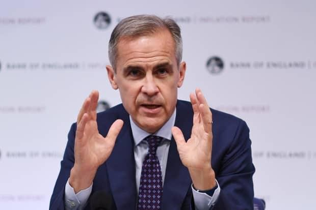 The Governor of the Bank of England Mark Carney speaks to reporters during a press conference on Thursday. The pound dropped after his comments Friday, even though Carney said he believed a no-deal Brexit was a 'relatively unlikely possibility.'  (Facundo Arrizabalaga/EPA-EFE - image credit)