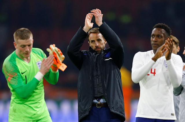 Soccer Football - International Friendly - Netherlands vs England - Johan Cruijff Arena, Amsterdam, Netherlands - March 23, 2018 England manager Gareth Southgate applauds fans after the match REUTERS/Michael Kooren