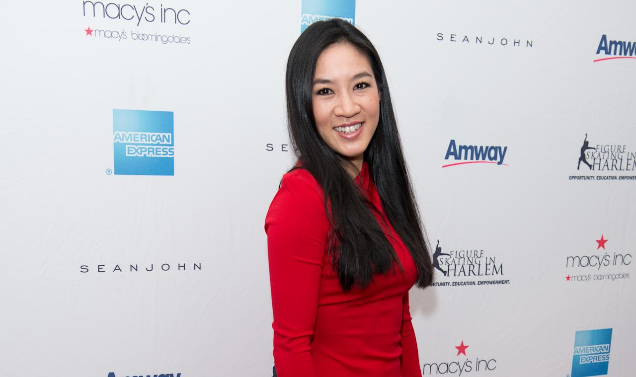 <p>Olympic figure skater Michelle Kwan attends the Skating With The Stars Gala at Trump Rink at Central Park on April 7, 2014 in New York City. (Photo by Noam Galai/WireImage) </p>