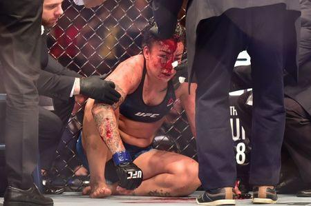 May 12, 2018; Rio de Janeiro, RJ, Brazil; Raquel Pennington after a fight against Amanda Nunes (not seen) during UFC 224 at Jeunesse Arena. Mandatory Credit: Jason Silva-USA TODAY Sports