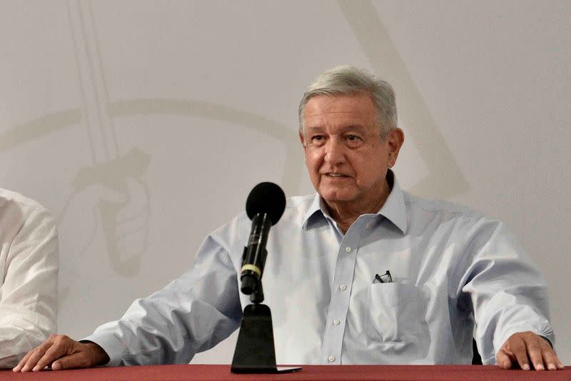 Mexico's President Andres Manuel Lopez Obrador speaks to the media during a news conference in Villa Hermosa