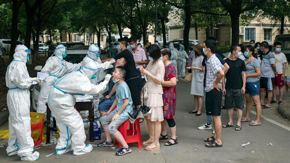 Residents wait in the all-inclusive Covid-19 test in Wuhan