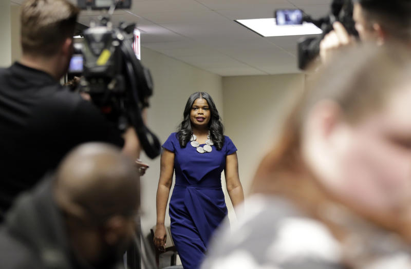 """Cook County State's Attorney Kim Foxx arrives at a news conference, Friday, Feb. 22, 2019, in Chicago. R. Kelly, the R&B star who has been trailed for decades by lurid rumors that made him Public Enemy No. 1 to the MeToo movement, was charged with 10 counts of aggravated sexual abuse involving multiple victims. After the latest documentary Foxx, said she was """"sickened"""" by the allegations and asked potential victims to come forward. (AP Photo/Kiichiro Sato)"""