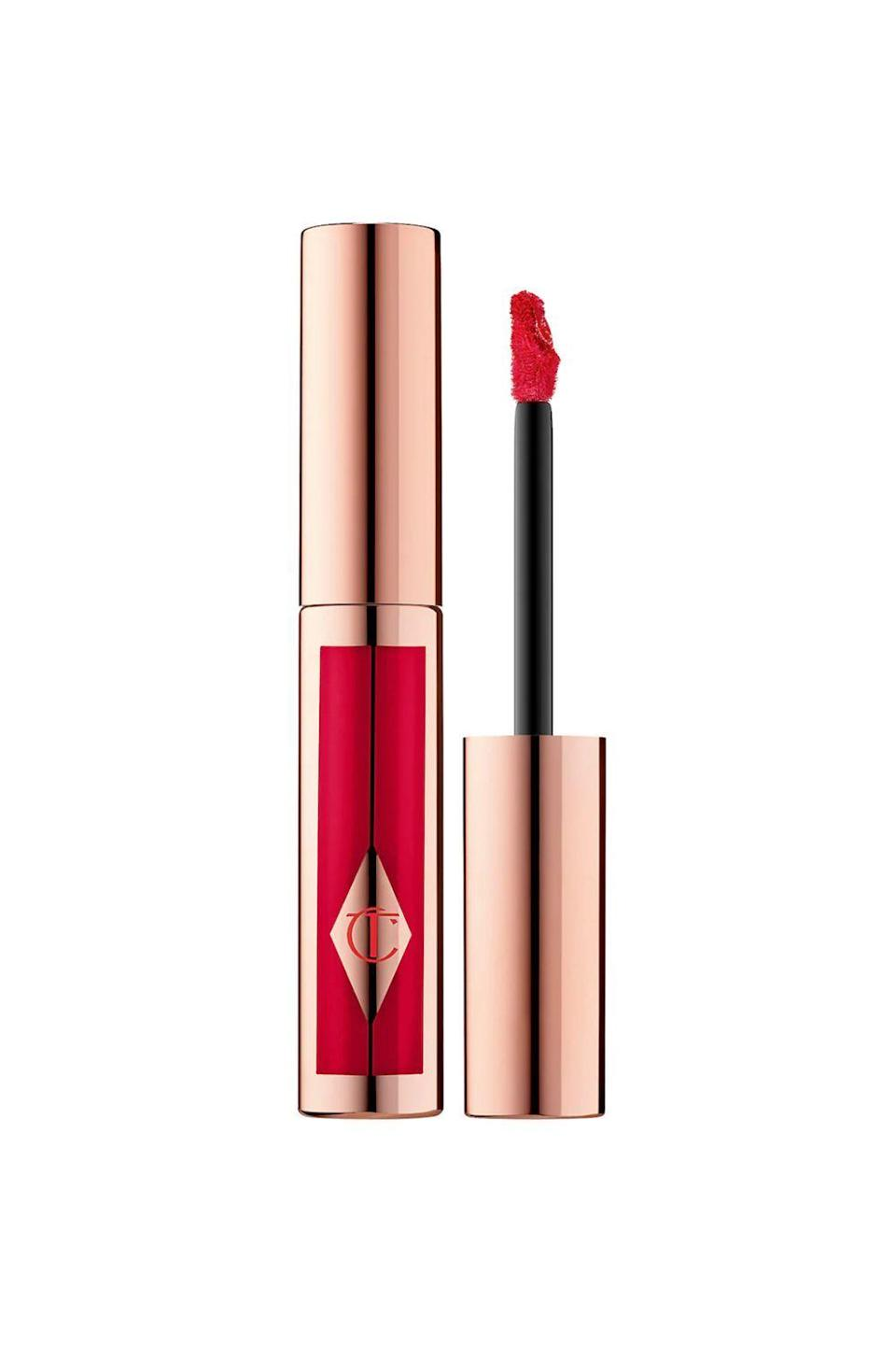 "<p><strong>Charlotte Tilbury</strong></p><p>sephora.com</p><p><strong>$34.00</strong></p><p><a href=""https://go.redirectingat.com?id=74968X1596630&url=https%3A%2F%2Fwww.sephora.com%2Fproduct%2Fhollywood-lips-P433865&sref=https%3A%2F%2Fwww.oprahmag.com%2Fbeauty%2Fskin-makeup%2Fg34963135%2Fbest-red-lipsticks%2F"" rel=""nofollow noopener"" target=""_blank"" data-ylk=""slk:Shop Now"" class=""link rapid-noclick-resp"">Shop Now</a></p><p>Get ready to paint the town red—thanks to this liquid lipstick from Charlotte Tilbury. Inspired by the glitz and glamour of old Hollywood, the ruby red formula looks and feels like a velvet matte (it even contains beeswax to ensure it stays put), but without any caking or cracking (due to deeply moisturizing hyaluronic acid). Plus, the award-worthy, crescent-shaped wand, which fits perfectly around curves and dips, makes application as close to foolproof as you can get.</p>"