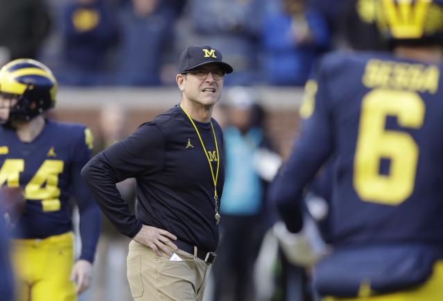 Jim Harbaugh is 28-11 since taking over the Wolverines. (AP Photo/Carlos Osorio, File)