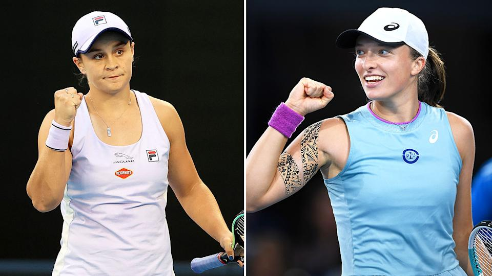 Iga Swiatek and Ash Barty (L) are pictured here giving a fist pump during a match.