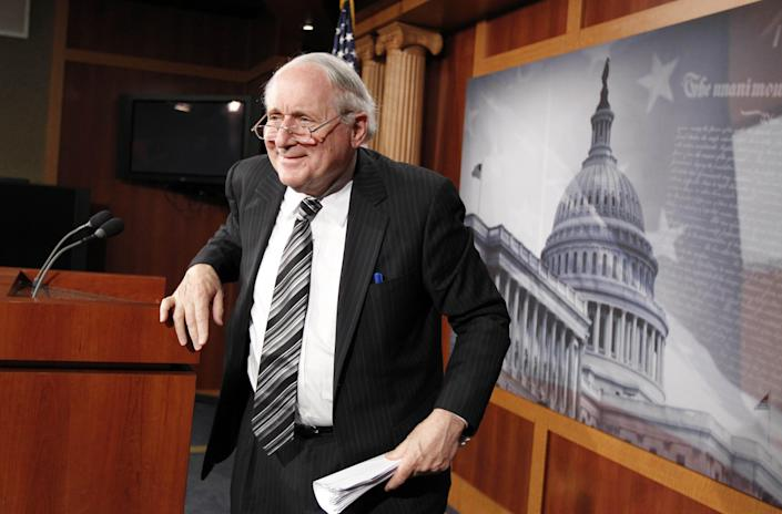 Senate Armed Services Committee Chairman Sen. Carl Levin, D-Mich. leaves a news conference on Capitol Hill in Washington on May 28, 2010, where he discussed the National Defense Authorization Act of 2011.