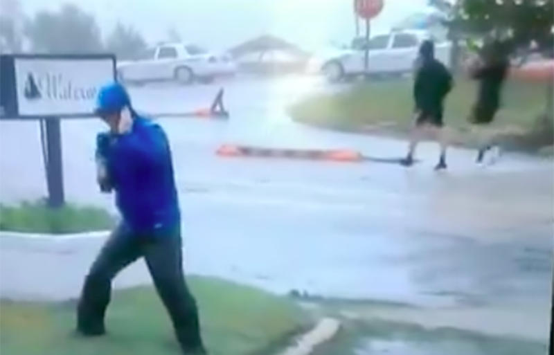 Weatherman called out for faking battle with wind during Florence