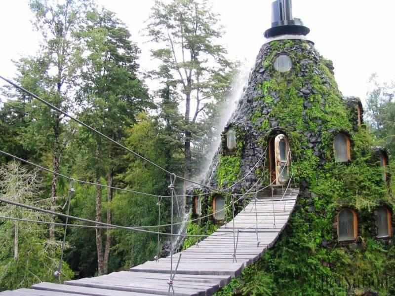 In the middle of the Chilean Patagonian rainforest is the Montaña Mágica Lodge hotel, built inside of a man-made volcano