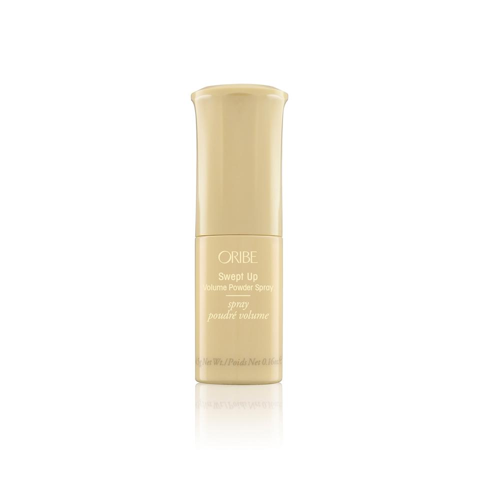 """<p>Not one for the messy dry shampoos that spray powder out like a water hose? Then you'll love the very fine powder that dispenses from this pump. Apply it directly to your root (or your hair) for buildable grip and volume that lasts for hours.</p><p>$42 (<a rel=""""nofollow"""" href=""""http://www.oribe.com/swept-up-volume-powder.html?mbid=synd_yahoobeauty"""">Shop Now</a>).</p>"""