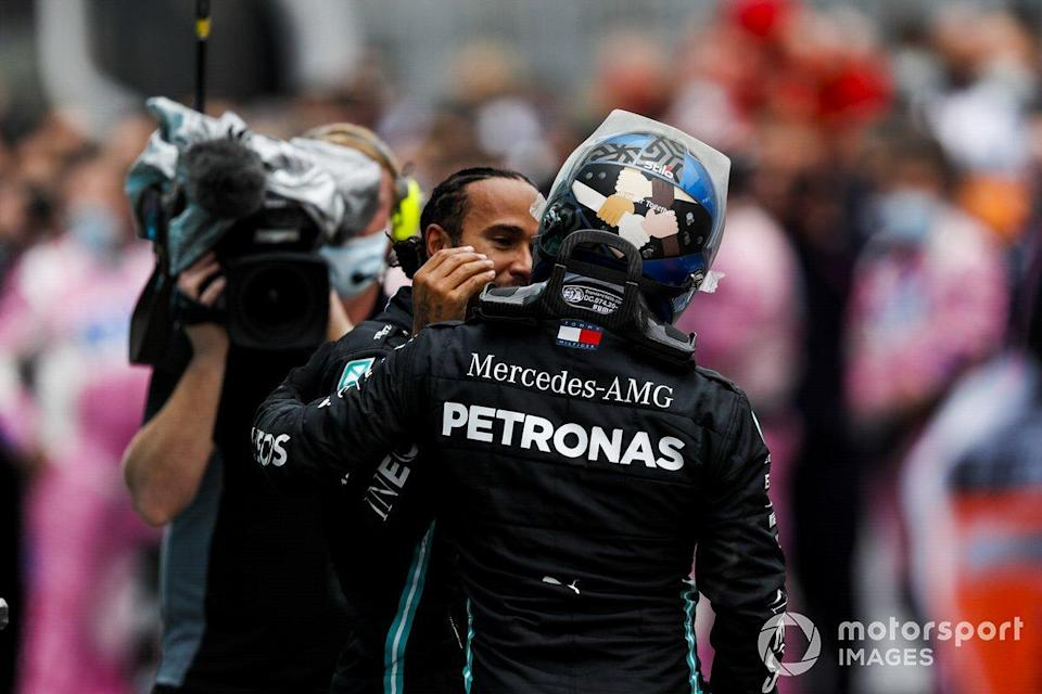 "Lewis Hamilton, Mercedes-AMG F1, 1st position, is congratulated by Valtteri Bottas, Mercedes-AMG F1, in Parc Ferme<span class=""copyright"">Charles Coates / Motorsport Images</span>"