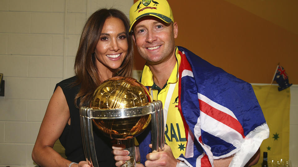 Michael and Kyly Clarke, pictured here at the 2015 Cricket World Cup.