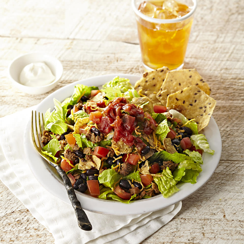 <p>Taco salad doesn't always have to contain beef--this 15-minute version uses tofu or black bean crumbles, which taste delicious and offer up a healthy dose of protein. This vegetarian meal is so tasty that even meat-only eaters won't miss the beef.</p>