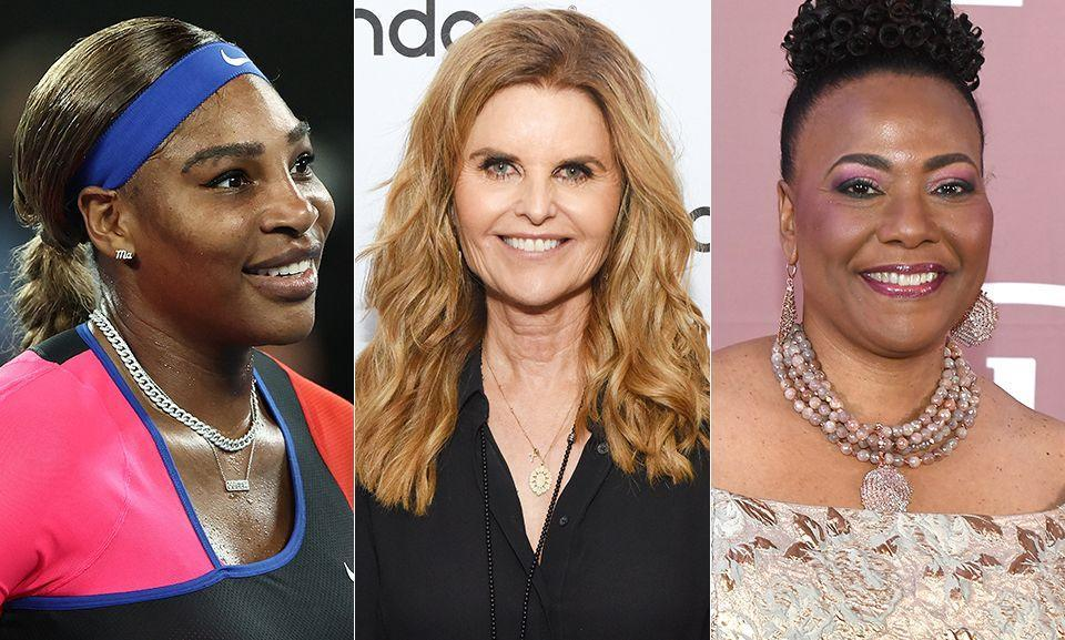 From left: Serena Williams, Maria Shriver and Bernice King are among the celebrities who have shared their support for the Duke and Duchess of Sussex. (Photo: Getty Images)