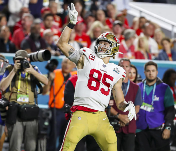 San Francisco 49ers tight end George Kittle could get a big payday soon. (Charles Trainor Jr./Miami Herald/Tribune News Service via Getty Images)