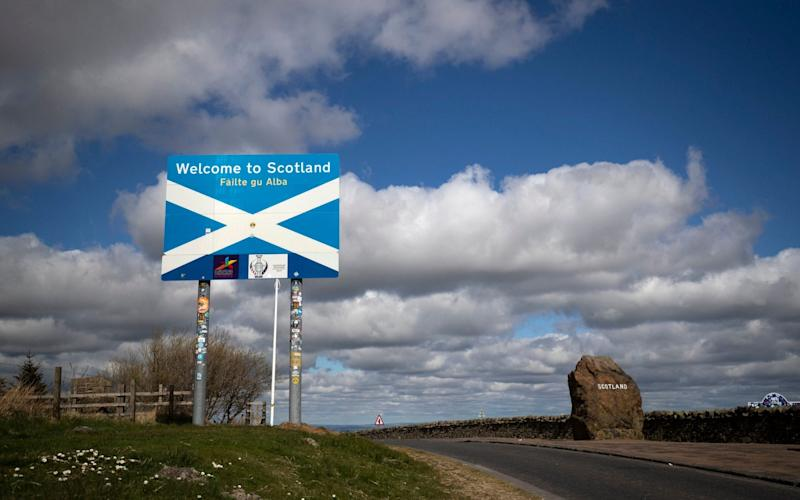 The Scotland-England border on the A68 near Jedburgh in the Scottish Borders - PA