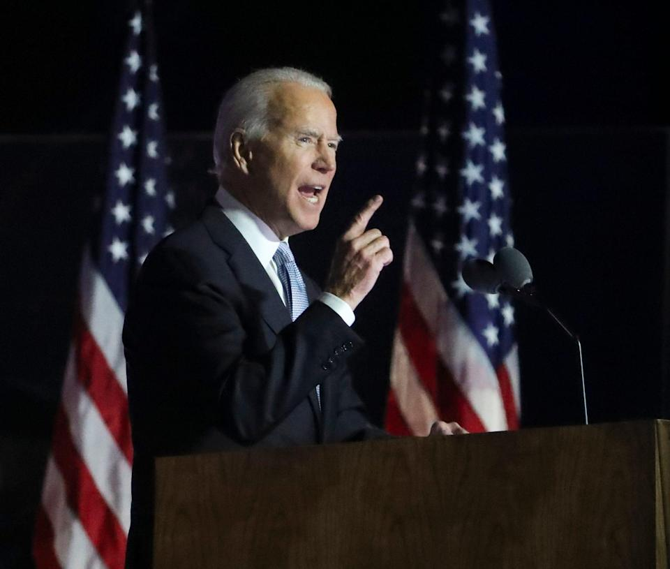 Joe Biden delivers a victory speech outside the Chase Center.