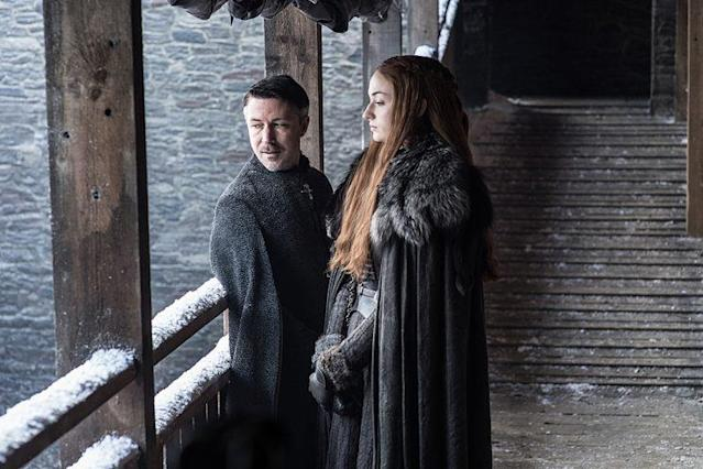 "Aidan Gillen as Petyr ""Littlefinger"" Baelish and Sophie Turner as Sansa Stark in HBO's 'Game of Thrones' (Photo Credit: HBO)"
