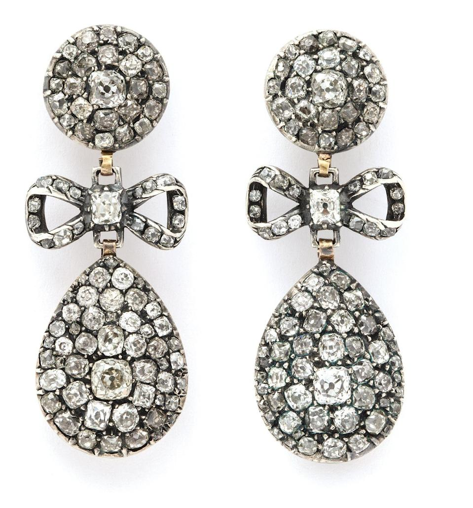 "<p><strong>Ask about this item</strong></p><p>alvr.com</p><p><strong>$40000.00</strong></p><p><a href=""https://www.alvr.com/6240/antique-old-mine-diamond-drop-earrings/"" rel=""nofollow noopener"" target=""_blank"" data-ylk=""slk:Shop Now"" class=""link rapid-noclick-resp"">Shop Now</a></p><p>Believed to have been created in 1780, these Georgian-style old mine diamond earrings boast a bow detail and lend a feminity to any ladylike ensemble. </p>"