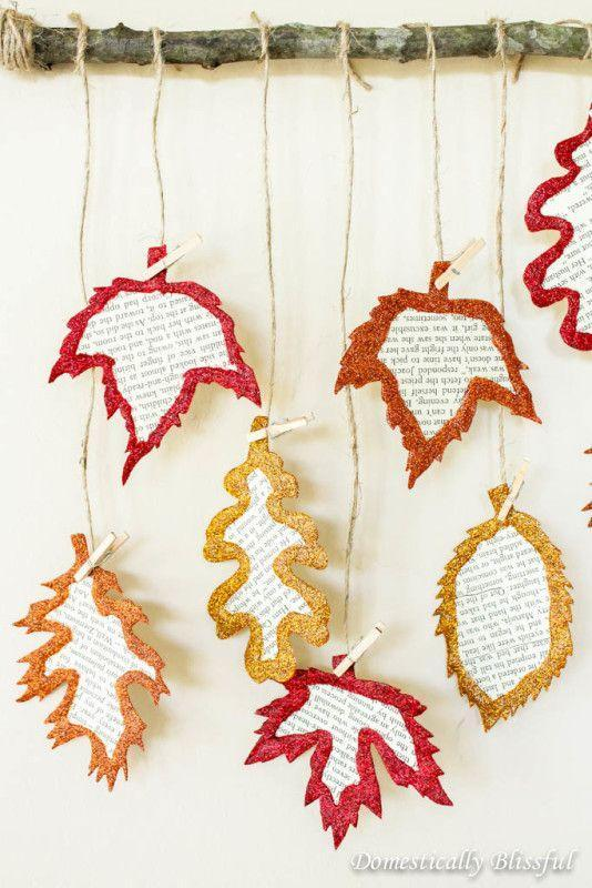 """<p>Old book pages transform into glittery leaves that look cozy and homey when hung in a window or off a mantel. Depending on the age of your little crafters, you might need to help with the cutting.</p><p><a href=""""https://domesticallyblissful.com/glittery-book-page-fall-leaves/"""" rel=""""nofollow noopener"""" target=""""_blank"""" data-ylk=""""slk:Get the tutorial at Domestically Blissful »"""" class=""""link rapid-noclick-resp""""><em>Get the tutorial at Domestically Blissful »</em></a></p>"""