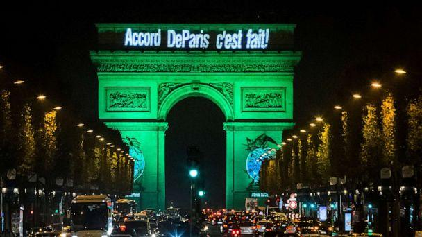 PHOTO: The Arc de Triomphe is illuminated in green to celebrate the ratification of the COP21 (Conference of the Parties Climate Conference) climate change agreement in Paris, Nov. 4, 2016.  (Geoffroy Van Der Hasselt/Anadolu Agency/Getty Images)
