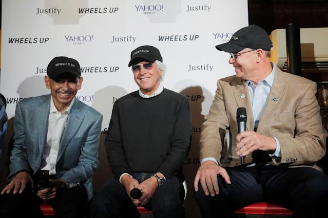 Jockey Mike Smith (L), trainer Bob Baffert (C), and majority owner Elliott Walden take part in a news conference regarding the horse Justify and its chances of winning the Belmont Stakes and Triple Crown of Thoroughbred Racing later this week in New York, U.S., June 7, 2018. REUTERS/Lucas Jackson