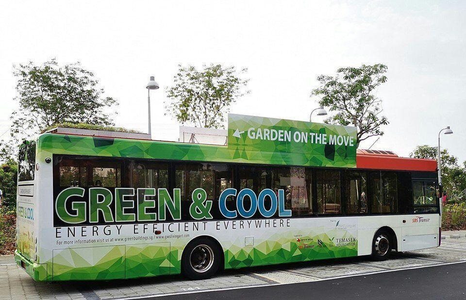 """One of the 10 SBS Transit buses with rooftop gardens, as part of the """"Garden on the Move"""" initiative to study possible energy and cost savings for bus operators. (PHOTO: Facebook/Singapore Green Building Council)"""