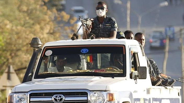 Units of Ethiopian army patrol the streets of Mekelle city of the Tigray region, in northern Ethiopia on March 07, 2021 after the city was captured with an operation towards Tigray People's Liberation Front (TPLF)
