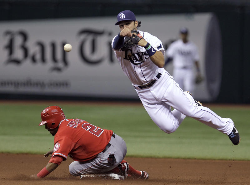 Tampa Bay Rays shortstop Sean Rodriguez tosses to first after forcing out Los Angeles Angels' Erick Aybar (2) at second base on a ball hit by Howie Kendrick during the fourth inning of a baseball game Tuesday, April 24, 2012, in St. Petersburg, Fla. Kendrick was safe at first. (AP Photo/Chris O'Meara)