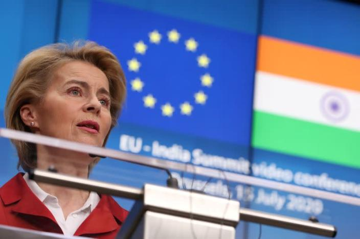 European Commission President Ursula von der Leyen speaks during a news conference after a virtual summit with Indian Prime Minister Narendra Modi, in Brussels