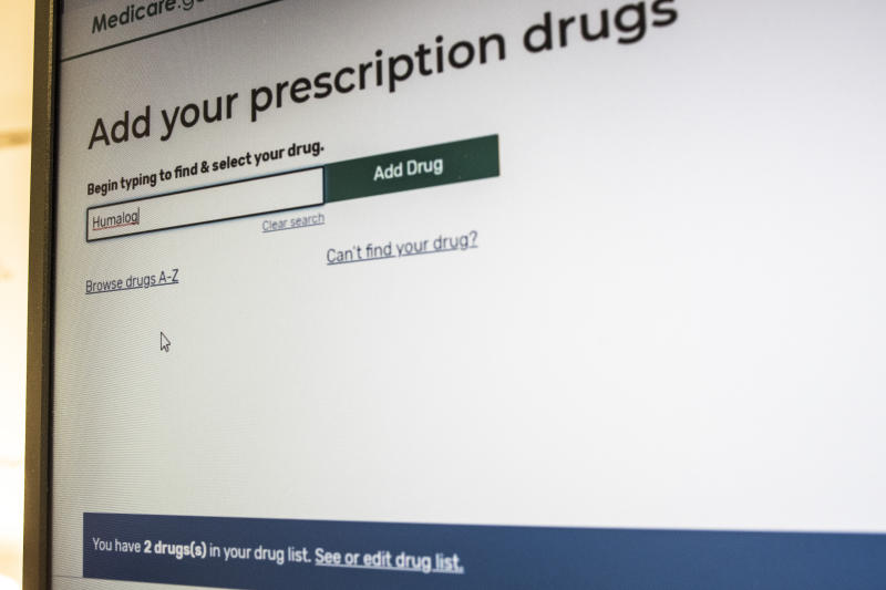 "President Trump's administration's new and highly touted online tool for seniors to find Medicare prescription drug plans show a status bar, bottom in blue, showing ""2 drugs in your drug list"" which is not accurate and interferes with the total drugs added to the Personal Drug List, in Arlington, Va., Thursday, Nov. 21, 2019. The online tool has problems providing key information. (AP Photo/Cliff Owen)"