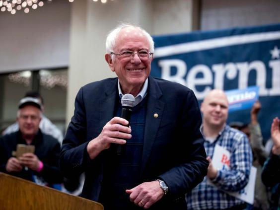 Democratic presidential candidate Bernie Sanders speaks at a campaign stop at St Ambrose University on 11 January 2020 (AP)