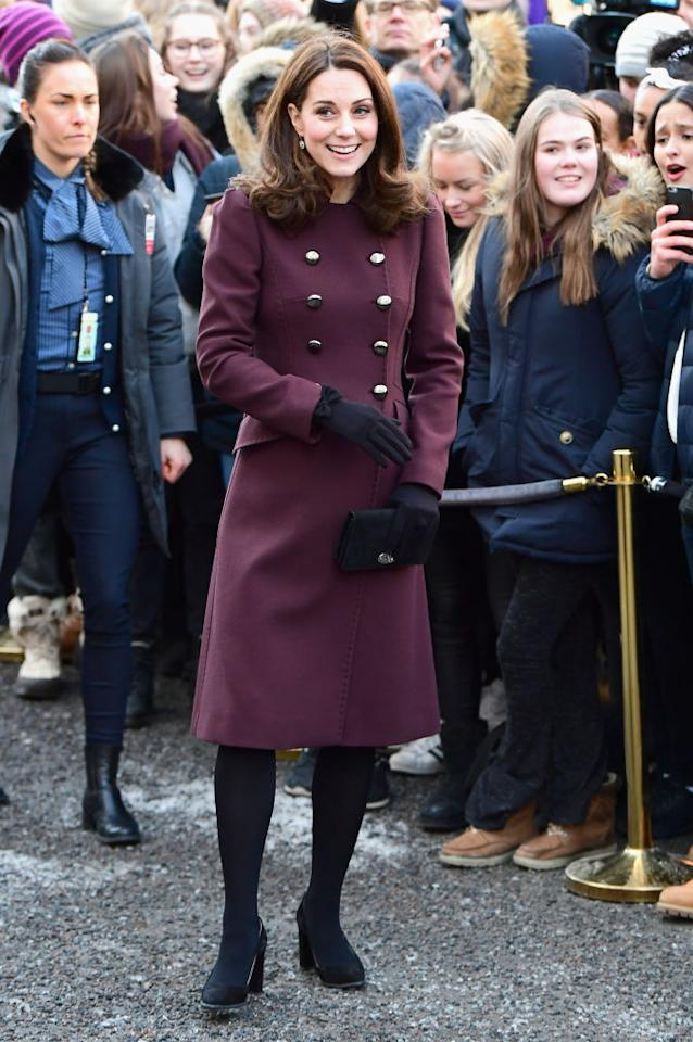 <p>To mark their final day of the royal tour, the Duke and Duchess of Cambridge met crowds at Hartvig Nissen School, the location for popular Norwegian television series, 'Skam'.<br />For the occasion, Kate Middleton donned a burgundy-hued coat by Dolce and Gabbana and accessorised the look with a suede Mulberry clutch. <em>[Photo: Getty]</em> </p>