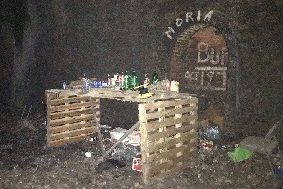 Temporary bar at illegal rave in Dulwich WoodMetropolitan Police