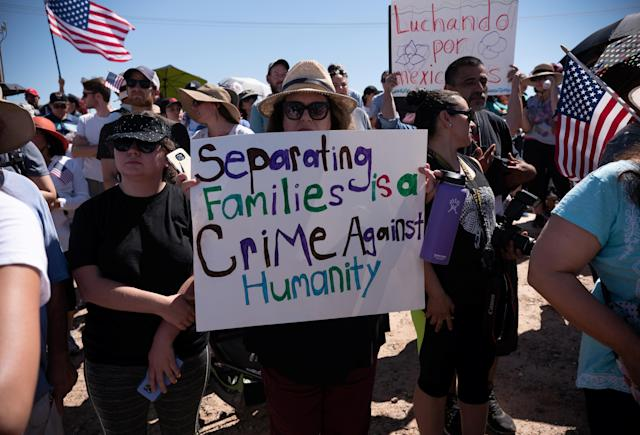<p>People participate in a protest against a recent U.S. immigration policy of separating children from their families when they enter the United States as undocumented immigrants, outside the Tornillo Tranit Center, in Tornillo, Texas, June 17, 2018. (Photo: Monica Lozano/Reuters) </p>