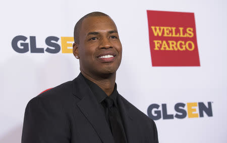 NBA player Jason Collins poses at the 10th Annual GLSEN (Gay, Lesbian & Straight Education Network) Respect Awards in Beverly Hills, California October 17, 2014. REUTERS/Mario Anzuoni