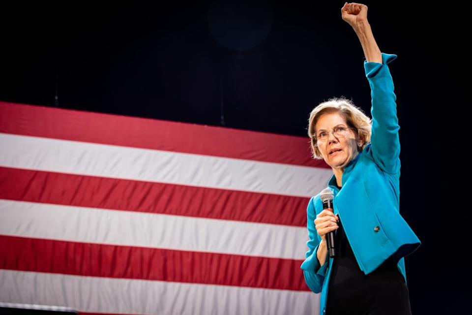 Elizabeth Warren at a rally in Brooklyn on Tuesday.