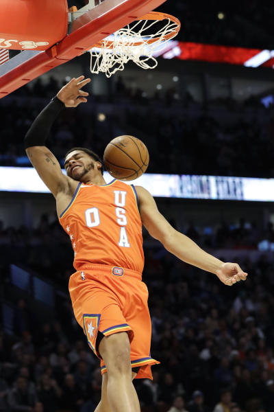 Team USA forward Miles Bridges, of the Charlotte Hornets, dunks against Team World during the second half of the NBA Rising Stars basketball game in Chicago, Friday, Feb. 14, 2020. (AP Photo/Nam Y. Huh)