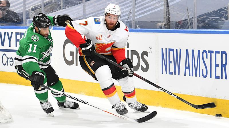 TJ Brodie may have played his last game as in a Flames sweater. (Photo by Andy Devlin/NHLI via Getty Images)