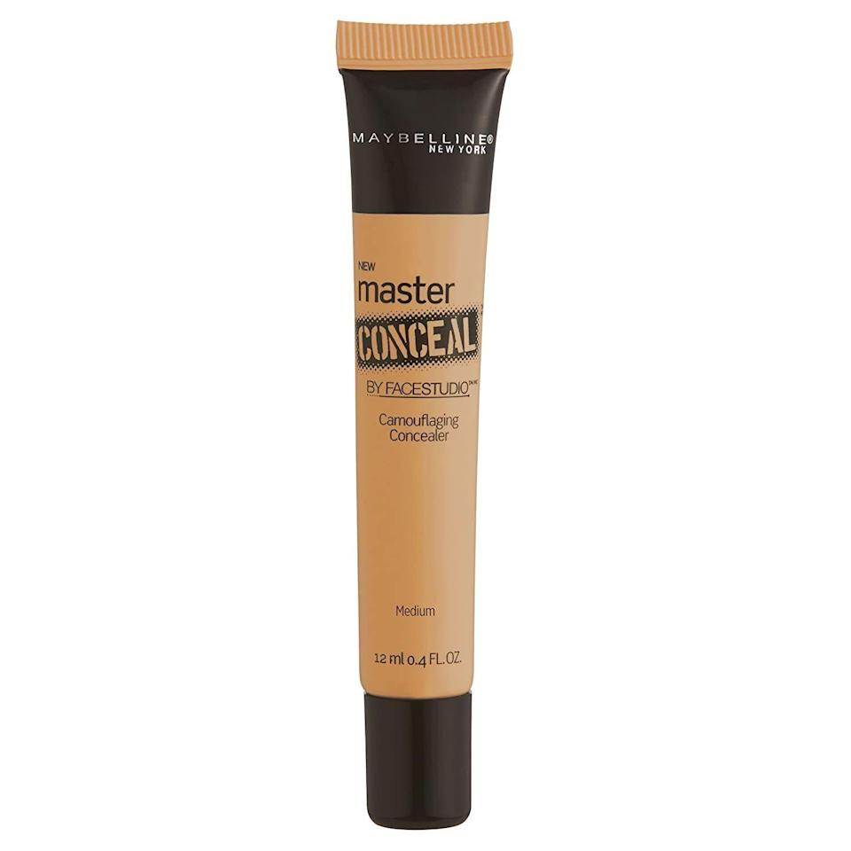 """<p><strong>Maybelline New York</strong></p><p>amazon.com</p><p><strong>$7.95</strong></p><p><a href=""""https://www.amazon.com/dp/B00PFCS80M?tag=syn-yahoo-20&ascsubtag=%5Bartid%7C10055.g.4870%5Bsrc%7Cyahoo-us"""" rel=""""nofollow noopener"""" target=""""_blank"""" data-ylk=""""slk:Shop Now"""" class=""""link rapid-noclick-resp"""">Shop Now</a></p><p>A drugstore favorite that one of our beauty editors has called a dupe for <a href=""""https://go.redirectingat.com?id=74968X1596630&url=https%3A%2F%2Fwww.sephora.com%2Fproduct%2Ffull-cover-concealer-P151107&sref=https%3A%2F%2Fwww.goodhousekeeping.com%2Fbeauty%2Fmakeup%2Fg4870%2Fbest-drugstore-concealer%2F"""" rel=""""nofollow noopener"""" target=""""_blank"""" data-ylk=""""slk:Make Up For Ever's Full Cover Concealer"""" class=""""link rapid-noclick-resp"""">Make Up For Ever's Full Cover Concealer</a>, <strong>this squeezable tube offers serious coverage at a reasonable price.</strong> Amazon reviewers are obsessed (it's amassed over 1,800 reviews) and one raves, """"It really is excellent at covering and it does not require a lot at a time or reapplication."""" A couple downfalls: Its shade range is limited to mostly fair tones, and some reviewers say it can look cakey on dry skin.</p>"""
