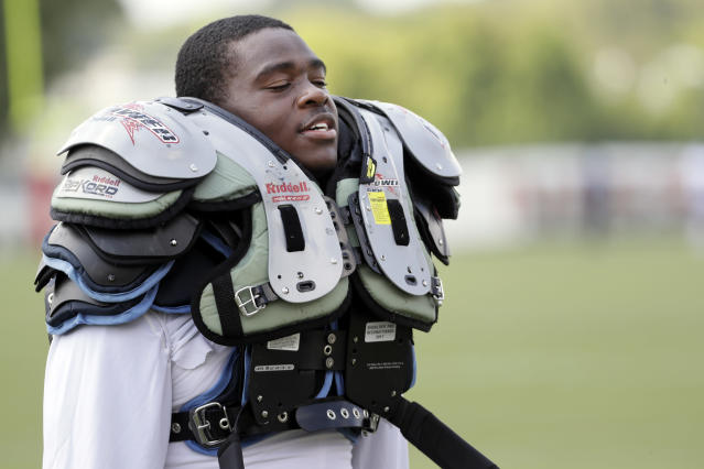 No more pads: The Canadian Football League and CFL Players' Association will announce Thursday it is ending in-season padded practices. Shown here is Tennessee Titans rookie Jayon Brown. (AP)