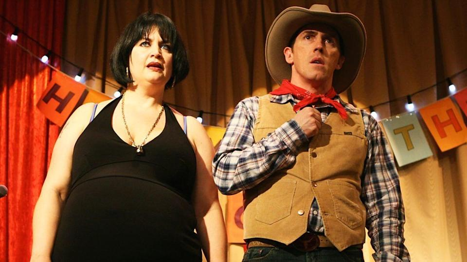 Ruth Jones and Rob Brydon as Nessa and Bryn in 'Gavin and Stacey'. (Credit: BBC)