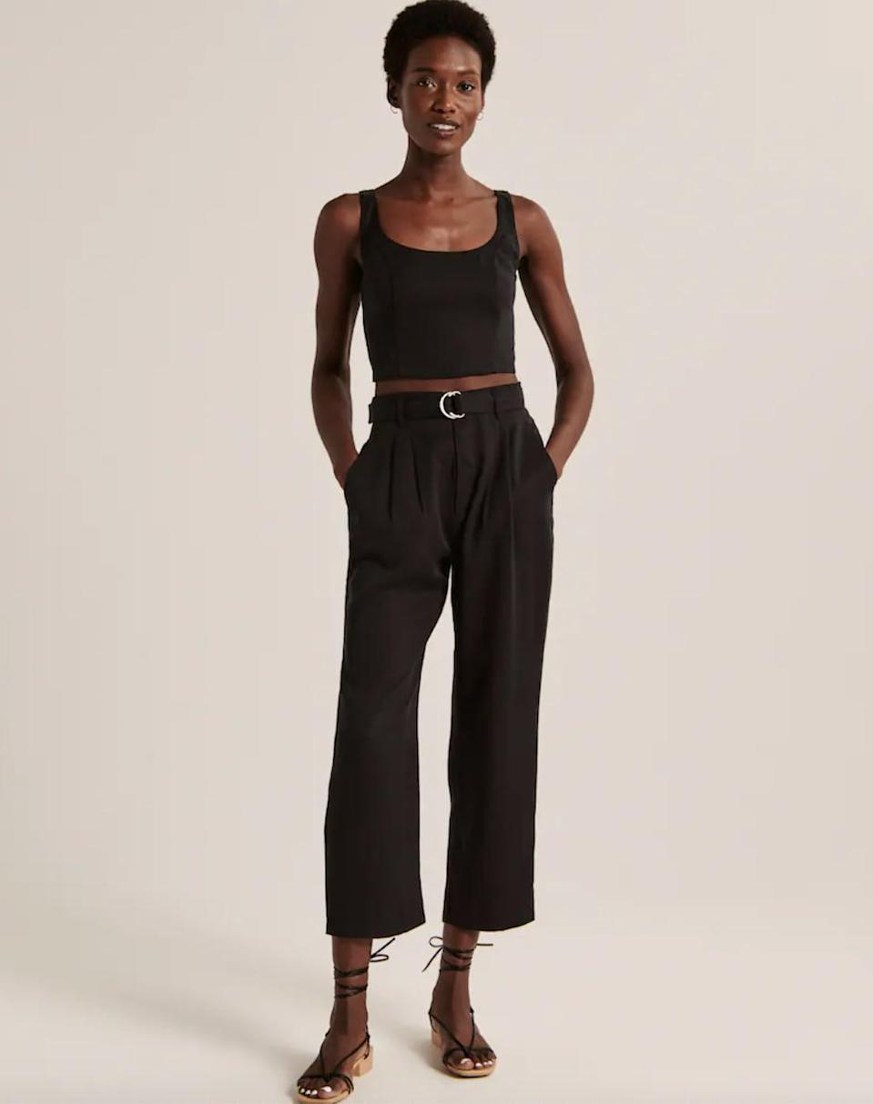 <p>Style these <span>Abercrombie Belted Ankle Straight Pants</span> ($69) with a square-neck top and knot sandals for a casual chic look.</p>