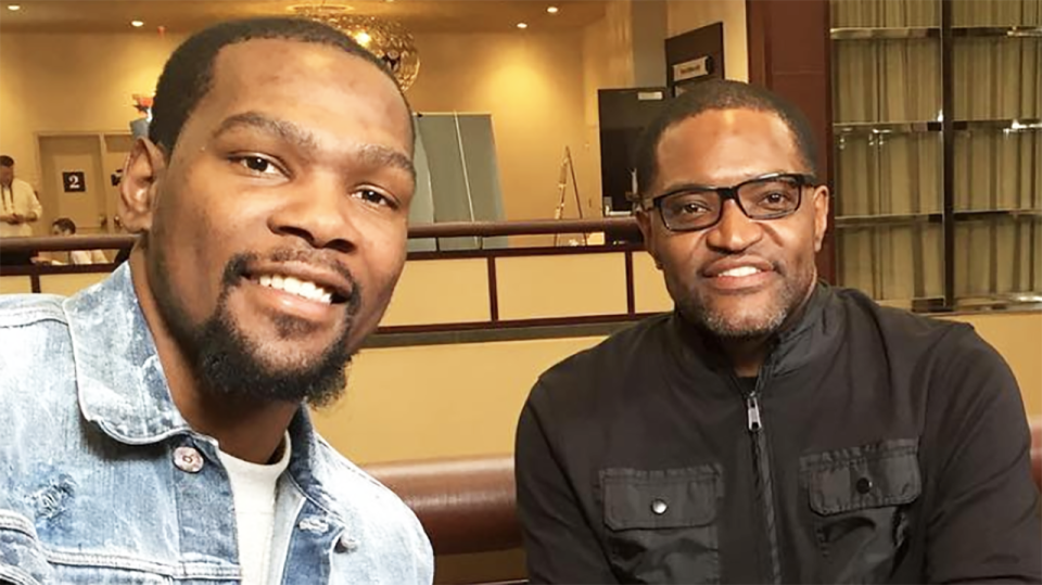 Veteran NBA reporter Sekou Smith, pictured right, died aged 48 on Wednesday. Picture: Instagram