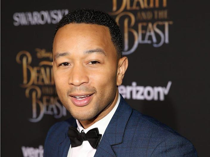 """John Legend at the premiere of """"Beauty and the Beast."""""""