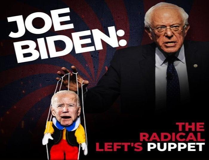 Trump campaign ad depicting Bernie Sanders pulling the strings on a Joe Biden puppet ((Trump Make America Great Again Committee))