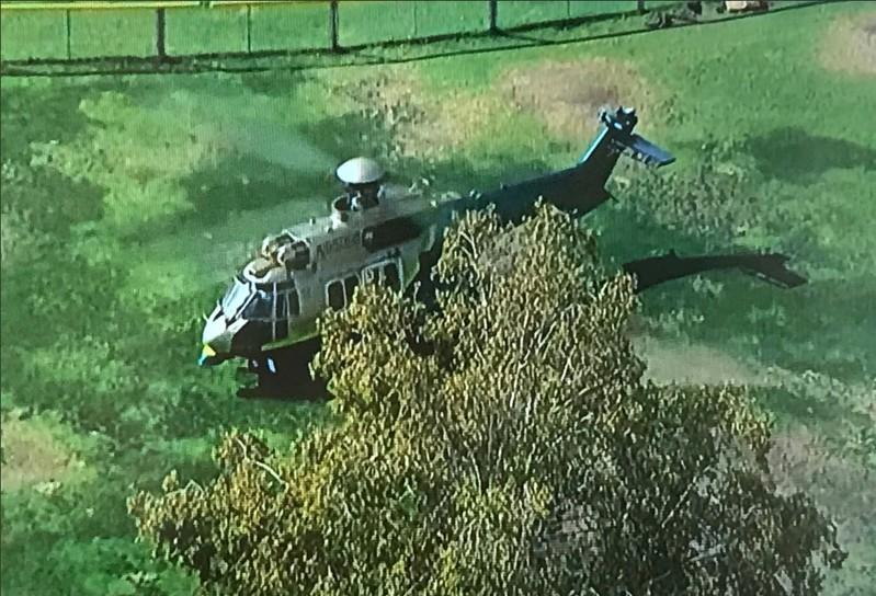 LASD SEB helicopter is pictured after shooting at Saugus High School in Santa Clarita, California